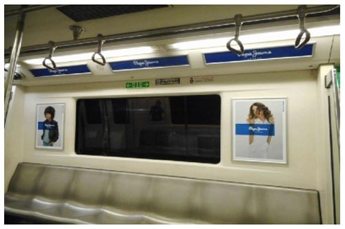 Advertising in Delhi Metro Train - Inside train